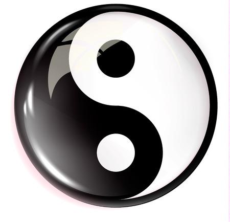 Volumetric image of feng shui. Yin Yang. Çizim