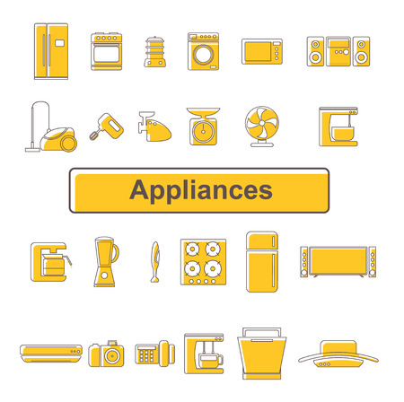 Line icons of home appliances. 24 units Illustration