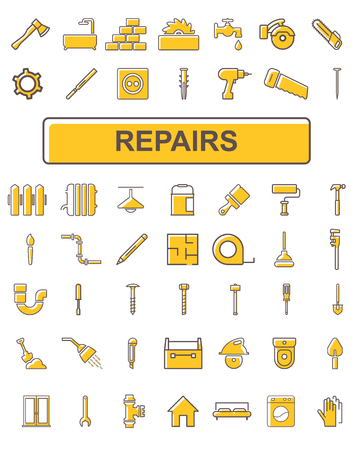 The icons on the theme of repair. Illustration