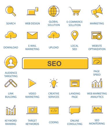 Outline web icons set - SEO.