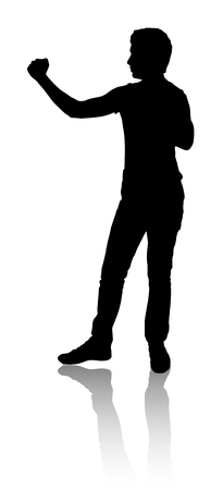 Silhouette of a man who defended or preparing for  fight. Black color. Illustration