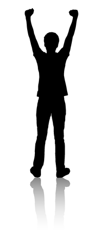 Silhouette of a man who raised his hands