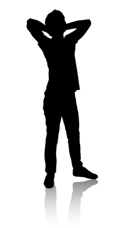 Silhouette of a man who stands and relaxes. Man thinks. Illustration
