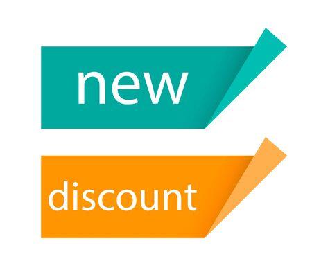 Template banner. New. Discount. Sale. Color label Illustration