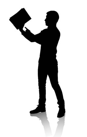 Silhouette of man.