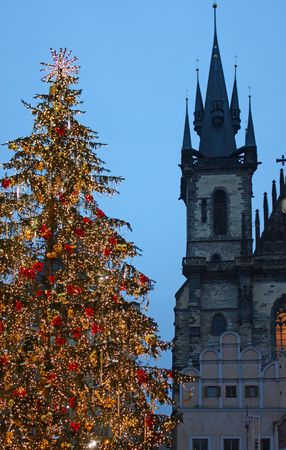 Christmas tree in Prague, in front of the Tyn Church photo