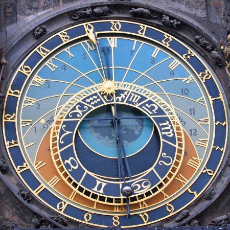 czech culture: The Prague Astronomical Clock  is a medieval astronomical clock located in Prague, Chzech Republic Stock Photo