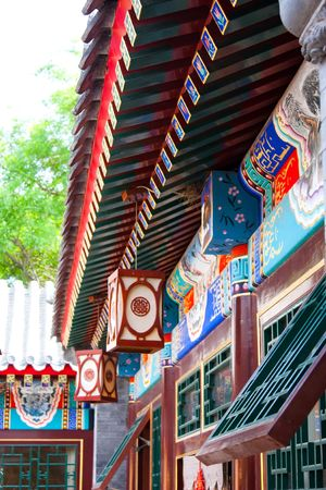 forniture: Detail of a courtyard house in Beijing, Qing dinasty. Every single piece of forniture follow feng shui rules. Stock Photo