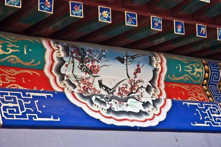 forniture: Detalle de una casa de patio en Beijing, la dinast�a Qing. Cada pieza �nica de muebles siga las reglas de feng shui.  Foto de archivo