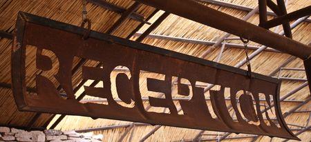 Namibia, signo de recepción artesanal hecha de chatarra  Foto de archivo - 7947808