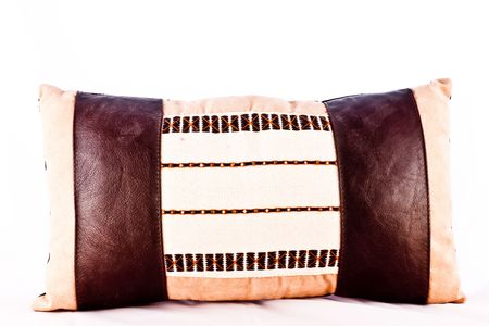 Handmade ethnic pillow, beutiful decorations (fabric and leather) photo