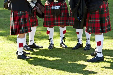 scot: Detail of original Scottish kilts, during Highlands games