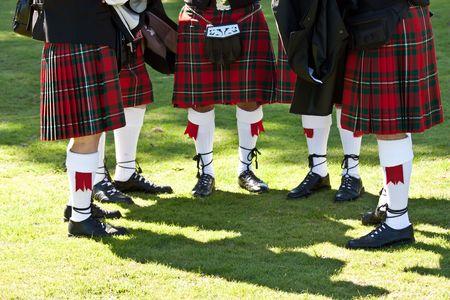 national costume: Detail of original Scottish kilts, during Highlands games