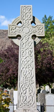 Detail of a celtic crucifix in a Scottish cementary photo