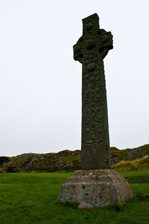 Original celtic cross on Isle of Iona, more than 1000 years old photo
