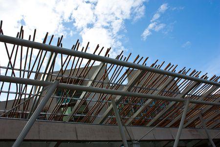 scottish parliament: Detail of Scotland Parliament, exterior, in Edimburg Stock Photo
