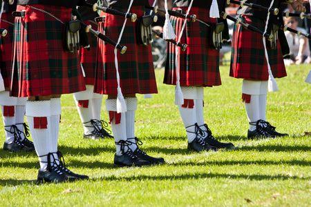 national culture: Detail of original Scottish kilts, during Highlands games