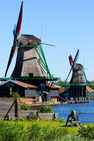 Mills in Holland, traditional and direct landmark of the country photo