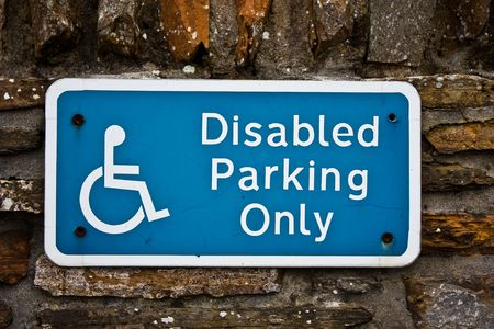 handicapped accessible: Sign for disable parking, useful for concepts