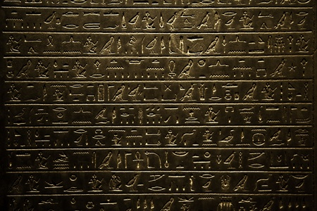 Background of Egyptian hieroglyphic, written on stone Stock Photo