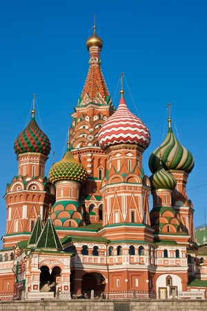St Basil Cathedral in Moscow during sunset photo