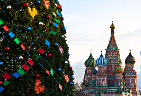 red square moscow: Detail of a Christmas tree from the Red Square - Moscow Stock Photo