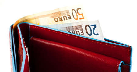 billfold: Italian leather wallet with money, useful for concepts