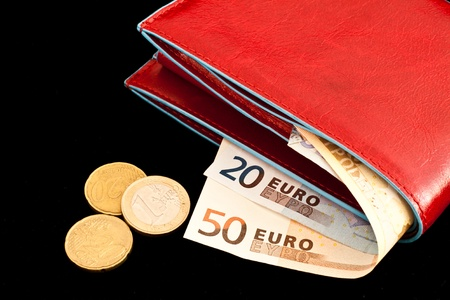 Italian leather wallet with money, useful for concepts photo