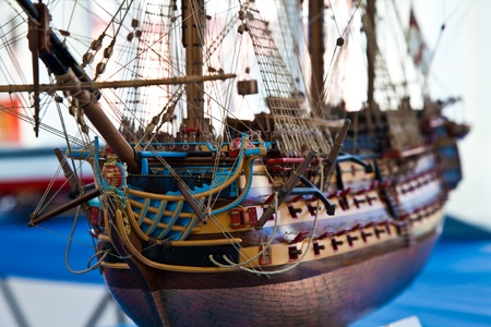 Galleon model detail made of wood. Useful as hobby example photo