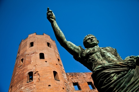 Statue of Cesare Augustus in Torino - Italy: concept of leadership photo
