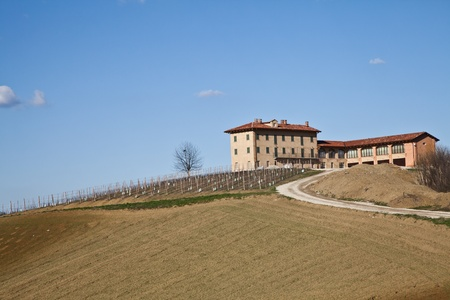 Charming Italian villa in Monferrato area (Piemonte region, north Italy) during spring season photo