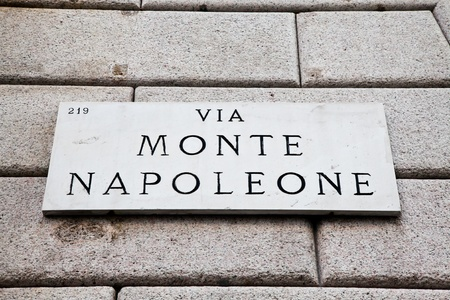 Street sign of famous interesting point in Milan center - Italy Stock Photo