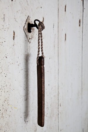 More than one hundred years old for this key and this door, Italy, Asti town Stock Photo - 10437806