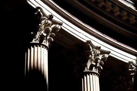 Detail of columns in Pantheon in Rome, Italy