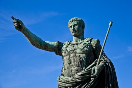 statesman: Gaius Julius Caesar (13 July 100 BC – 15 March 44 BC) was a Roman general and statesman. Useful for leadership concepts. Stock Photo