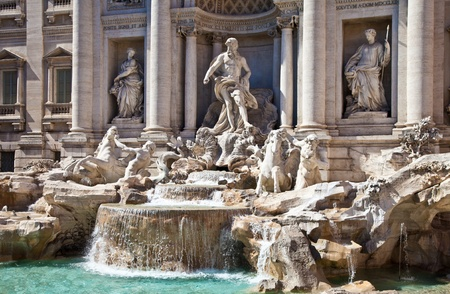 Trevi fountain during a sunny day, Rome, Italy photo