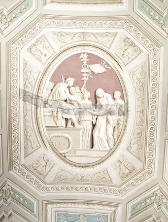 Vatican Museums, Rome, Italy: example of painting restoration technique