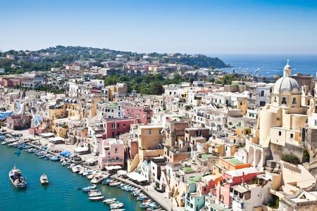 golfo: Panoramic view of Procida Isle, in Naples Gulf, Italy Stock Photo