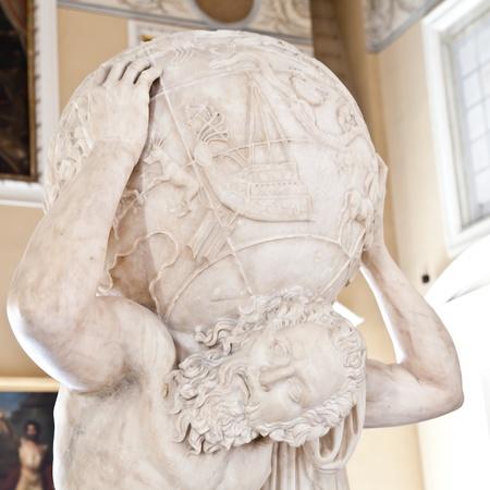 アトランテ ファルネーゼ像の 2dn 世紀の広告のコピー 写真素材
