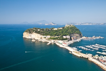 View of Naples Gulf from Pozzuoli. Ischia and Procida Isles on the orizont line. photo