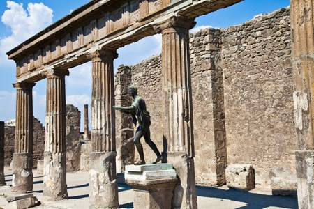 Detail of Pompeii site. The city of was destroyed and completely buried during a long catastrophic eruption of the volcano Mount Vesuvius