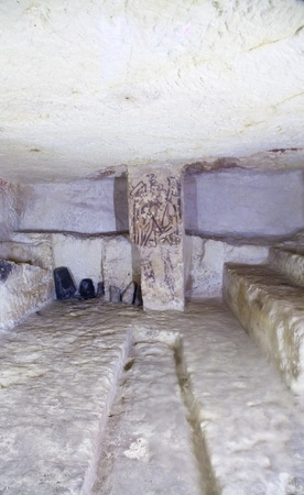 Tarquinia, Italy, around 470 B.C. Via a narrow corridor leading downstair one has access to the rectangular burial room with a sloping ceiling