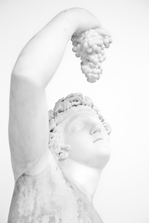 Statue with grapes, classical pose, original (more than 1600 years old) photo