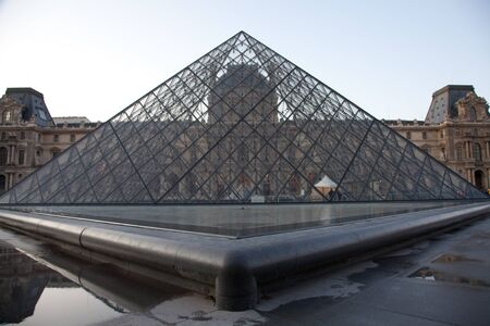 Paris - Detail of the Louvre Pyramid close to main entrance