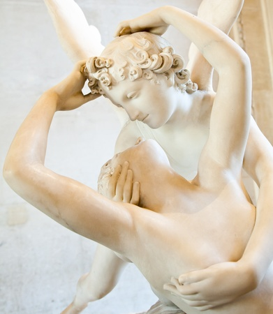 cupid: Antonio Canovas statue Psyche Revived by Cupids Kiss, first commissioned in 1787, exemplifies the Neoclassical devotion to love and emotion Editorial