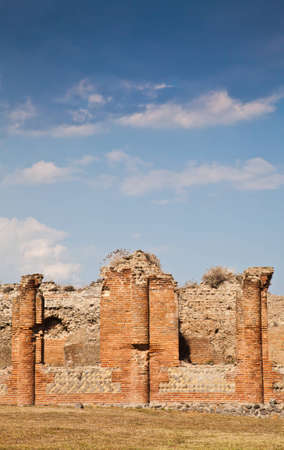 catastrophic: Detail of Pompeii site. The city of was destroyed and completely buried during a long catastrophic eruption of the volcano Mount Vesuvius