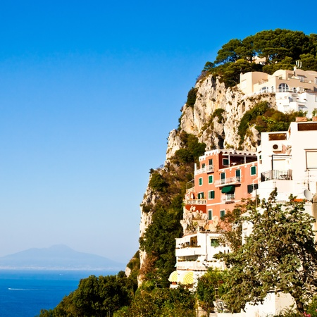 Capri isle (Naples gulf - Italy): view of the vesuvius volcano photo