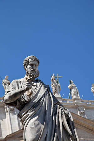 St Peter statue in St. Peter Square (Rome, Italy) with blue sky background Stock Photo - 12850141