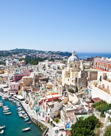 Panoramic view of Procida Isle, in Naples Gulf, Italy photo