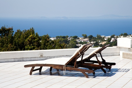 Terrace on Naples Gulf: two seats with a wonderful view Stock Photo - 12850145